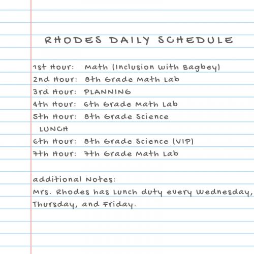 Rhodes Daily Schedule 2021-2022