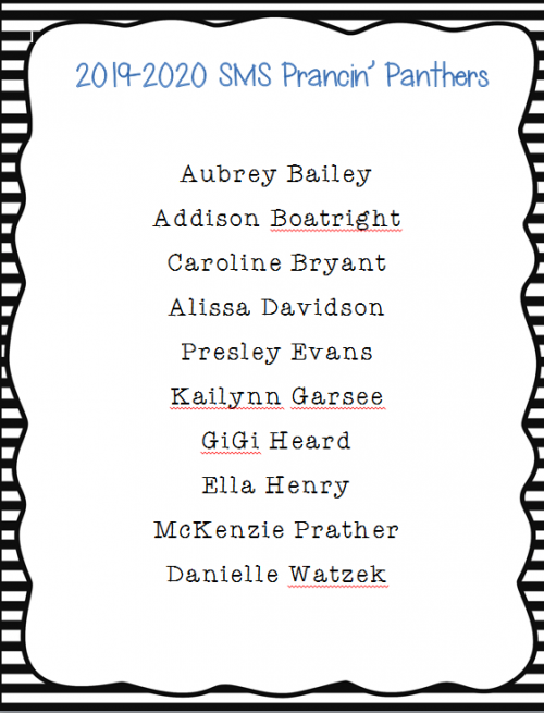 Congratulations to the SMS Prancin' Panthers 2019-2020!