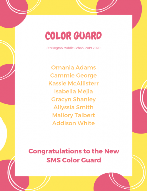 Congratulations to the Color Guard Squad for 2019-2020!