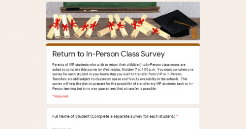 Google Document for Return to In-Person Class Parent Survey