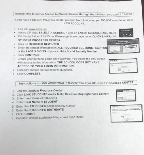 Instructions for parents to access Student Progress Center