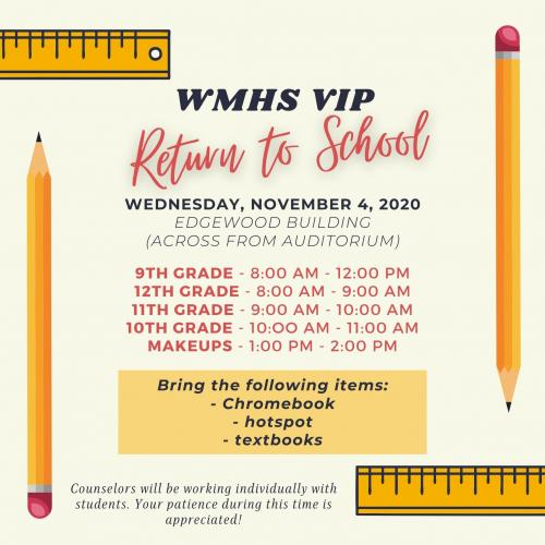 Return to School Schedule for VIP Students