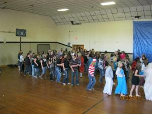 Line Dancing at Costume Contest