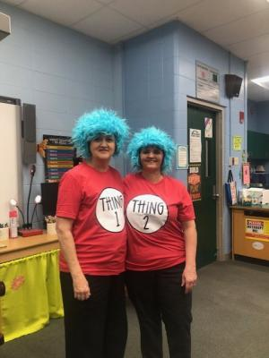 Grab a friend and dress as twins!  Read Across America Week!  Mrs. Carver & Mrs. Monica