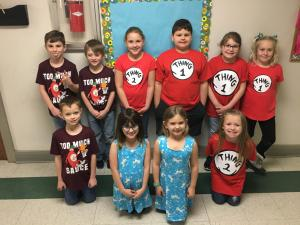 Second grade twins during Read Across America Week.