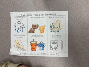 Kindergarten book care rules.