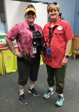 Mrs. Cheek & Mrs. Carver as tacky tourists during Read Across America Week,