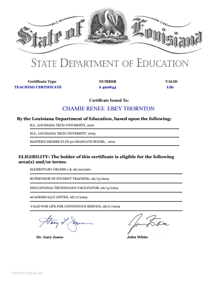 This is Chamie Thornton's teaching certificate.
