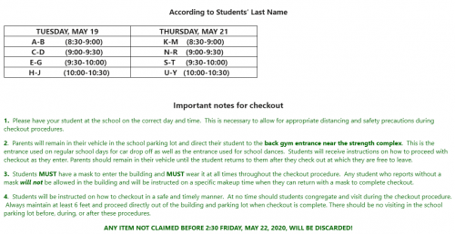 End of year checkout schedule