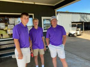 Drake Grantham, Jace Eck, and Luke Watson finished 3rd at District in Booneville. Drake qualifies for the state tournament as an individual. Drake will be playing in state October 5th at Coopers Hawk in Melbourne.  Way to go, Arrows!