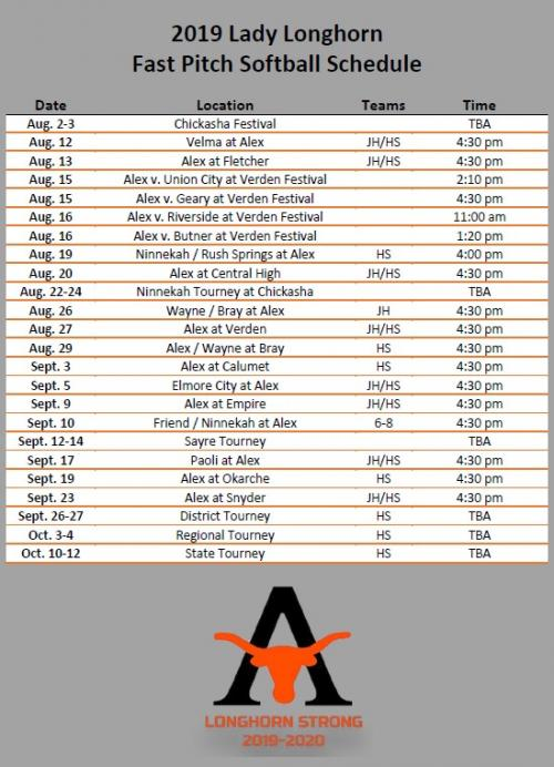 2019 Fast Pitch Schedule