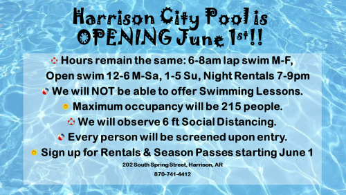 Info about the Pool opening up.