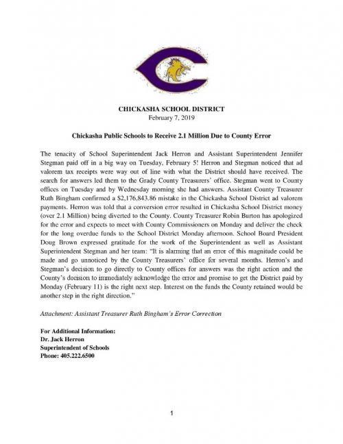 Press Release 2.7.18