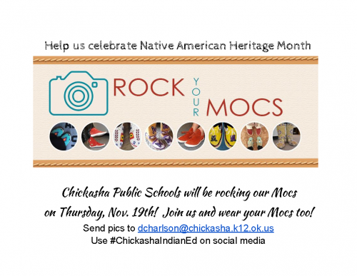 announcement of Rock Your Mocs day for Native American Heritage Month