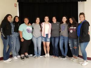2021-2022 Cheerleaders  (Virginia Garza, Miranda Perez, Kady Cole, Marcela Enriquez, Halie Patrick, Hanna Hinds, Mariana Mendoza, Haleigh Biera (mascot), and Carson Koehler)