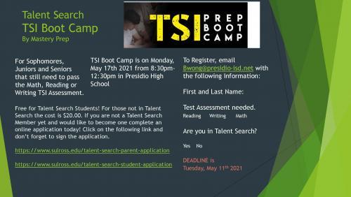 TSI Boot Camp Flyer