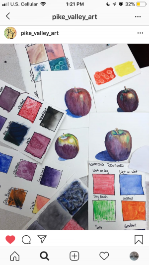3rd hour art students have spent the last few weeks on watercolor paintings, one of the most challenging media in art.