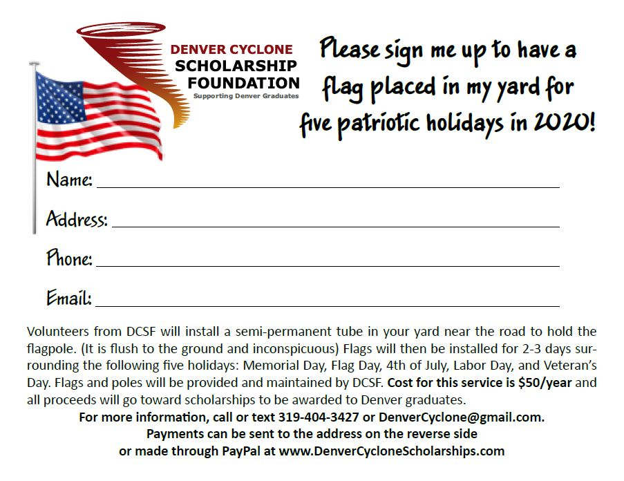 Denver Cyclone Scholarship Foundation American Flag Fundraiser