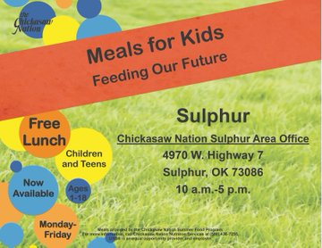 Free Meals Ages 1-18 @ Sulphur During Spring Break Sponsored by Chickasaw Nation