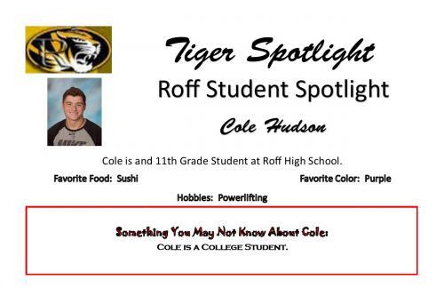 Cole Hudson Student Spotlight