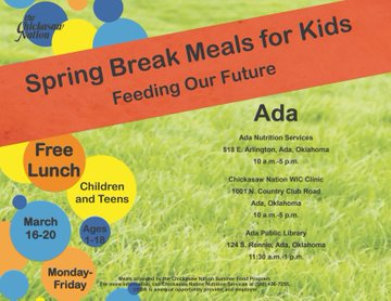Free Meals Ages 1-18 @ Ada During Spring Break Sponsored by Chickasaw Nation