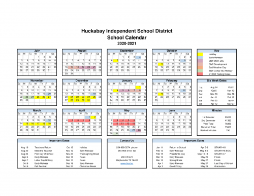 The calendar for the 2020-21 school year is here!