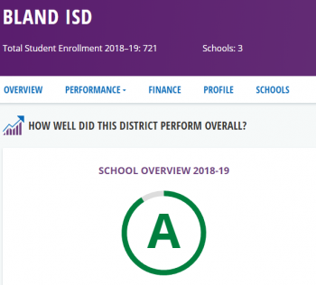 Bland ISD Earns an A Rating for the 2nd Consecutive Year!