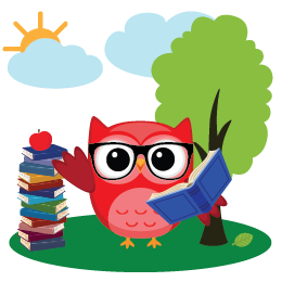 Owl with books and tree