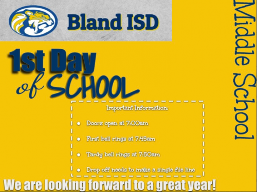 Bland Middle School 1st day of school flyer