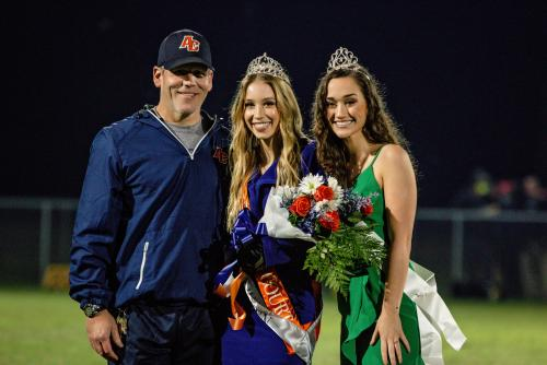ACH 2020 Homecoming Queen with Principal and 2019 Queen