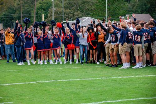 Students gathered on the field