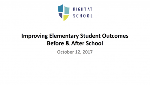 improving elementary student outcomes before and after school