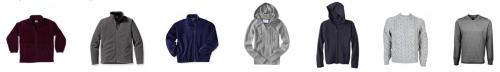 Examples of sweaters and jackets.