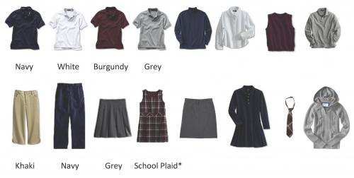 Examples of dress code colors and clothing styles.