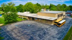 Overhead picture of Hornsby Elementary School and the parking lot.
