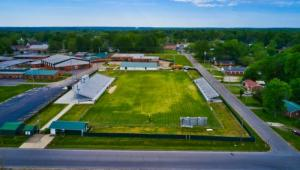 Overhead picture of Bolivar Central High School's football field.  Can see the new stadium to the left, and the new field house at the top of the picture.