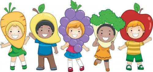 Clip art of 5 kids wearing a different fruit or vegetable on their head