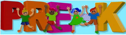 Clip art of alphabet blocks spelling out PRE-K with 4 clip art kids with their hands raised over their heads