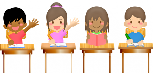 Clipart of four children sitting at a desk.