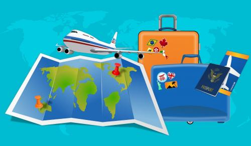 Image of a map, plane, luggage, passport courtesy of https://pixabay.com/illustrations/map-flight-vacation-luggage-visa-3953229/