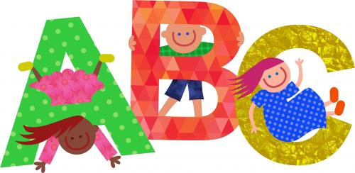ABC clipart with 3 children.