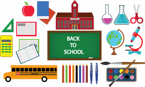 Pictures of items associated with School and a sign that reads Back to School