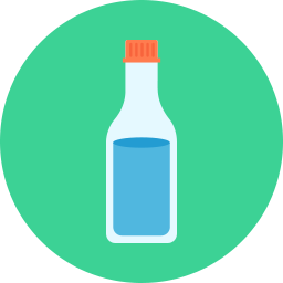 white cartoon bottle on blue circle icon