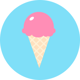 cartoon ice cream on blue circle icon