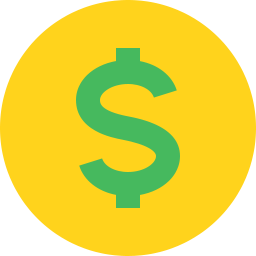 green dollar sign on yellow circle icon