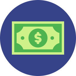 cartoon dollar on blue circle icon