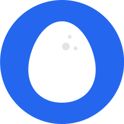white cartoon egg on blue circle icon