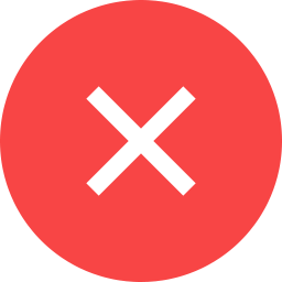 white x on red circle icon
