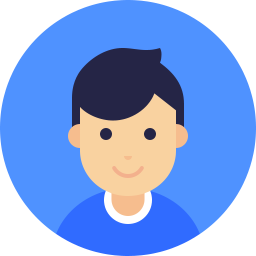 cartoon boy on blue circle icon