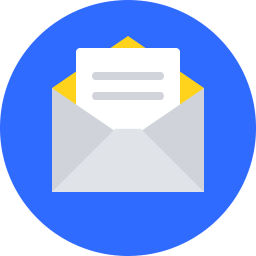 cartoon envelope with note on blue circle icon